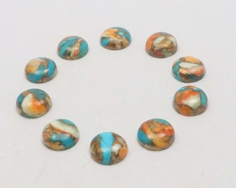 1 Piece Oyster Copper Turquoise Cabochons Lot 22mm Round Shape Oyster Turquoise Gemstones Smooth Gems Semi Precious Cabs Loose Stones