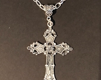 Large Cross on 24in Chunky Chain gothic Tibetan silver