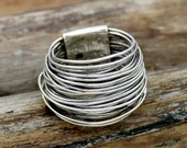 Handmade Wraparound Silver Wire ring Sterling Silver Ring Statement Ring Silver wide wrap Ring Multi Layer Silver Wire Ring Handmade Jewelry