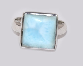 AAA Genuine Dominicaine Larimar Inlay 925 Sterling Silver Band Ring Taille 6,7,8,9