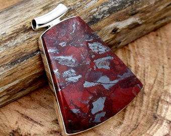 Red Jasper .925 Sterling Silver Pendant Accented with Two Peridot