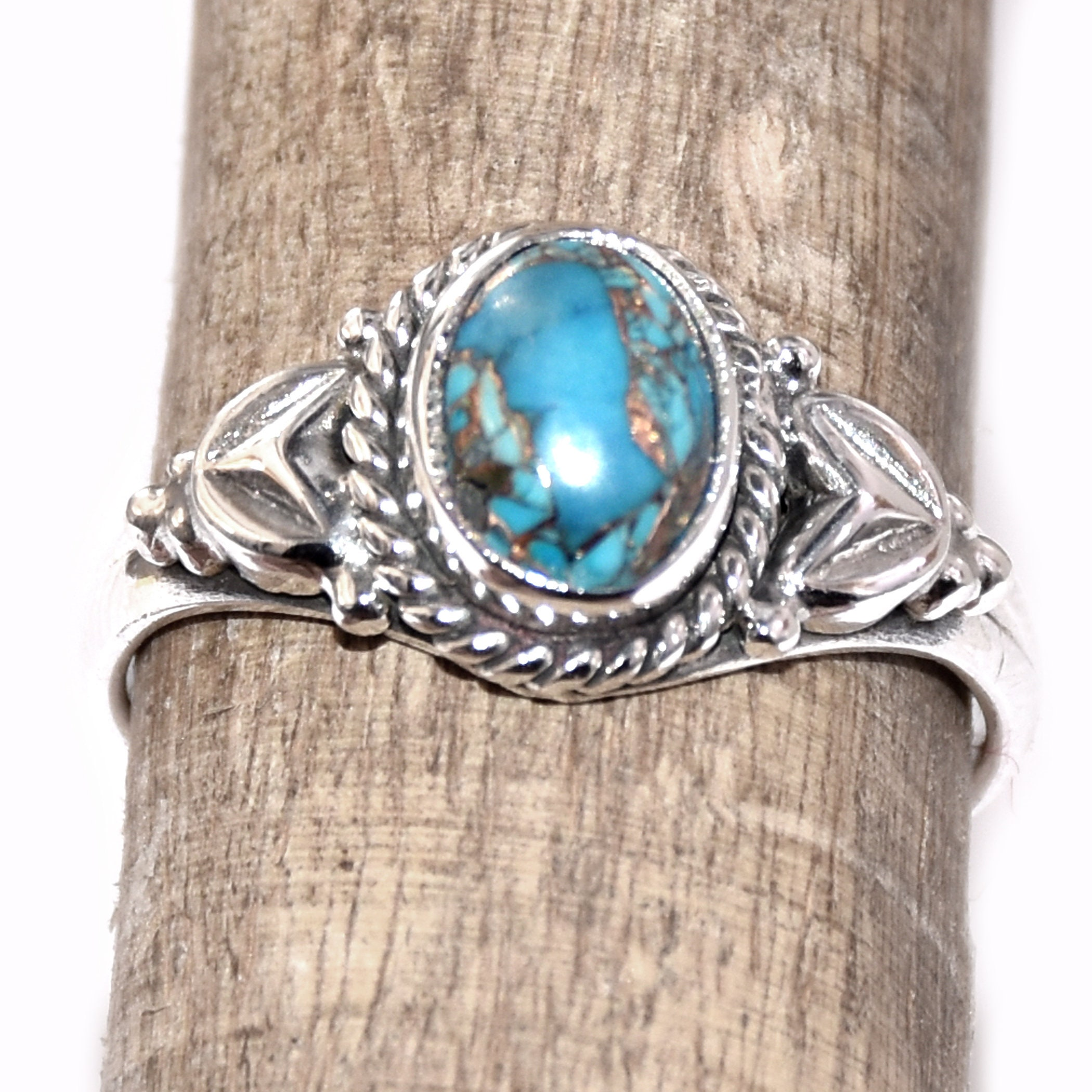 Turquoise Sterling Silver Ring Dainty Turquoise Jewelry Silver Brass Gemstone Ring Boho Ring Statement Ring Blue Copper Turquoise Ring