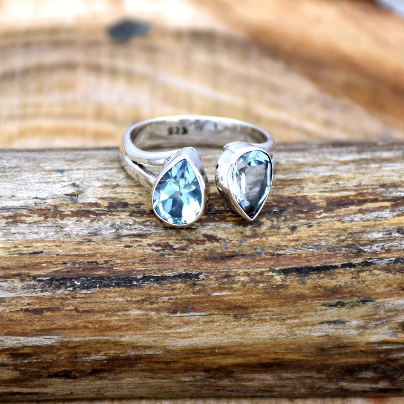 925 Sterling Silver Ring Gift For Her Bohemian Ring Open Band Ring Natural Blue Topaz Ring Handmade Silver Ring Sky blue topaz Ring