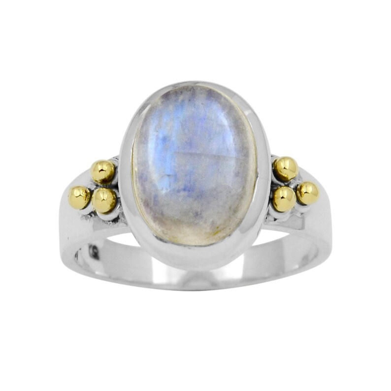 Natural Moonstone Ring Blue Fire Moonstone Ring Handmade Silver Ring Two Tone Ring Designer Moonstone Ring Ready to Ship