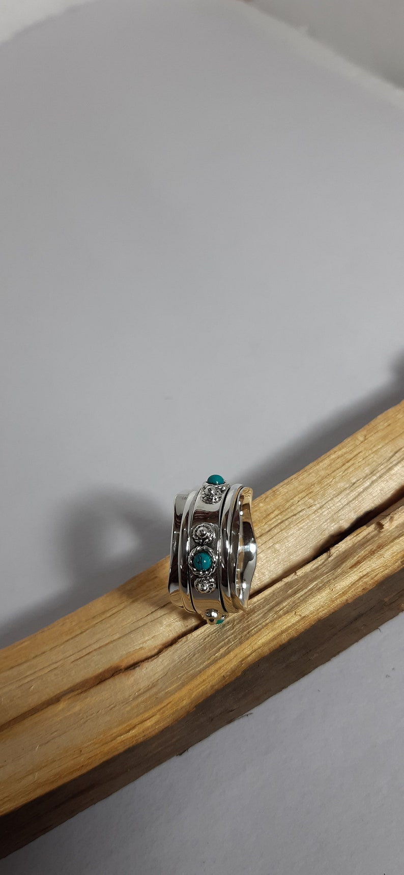 Natural Turquoise Boho Ring Sterling Silver Ring Women Ring Handmade Ring Turquoise Ring Turquoise Bend Ring Turquoise Jewelry