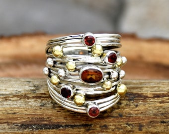 Natural Garnet Ring, 925 Sterling Silver Ring, Handmade Wire Wrapped Ring, Artisan Ring Multi Stones Ring, Two Tone Ring, Handmade Jewelry