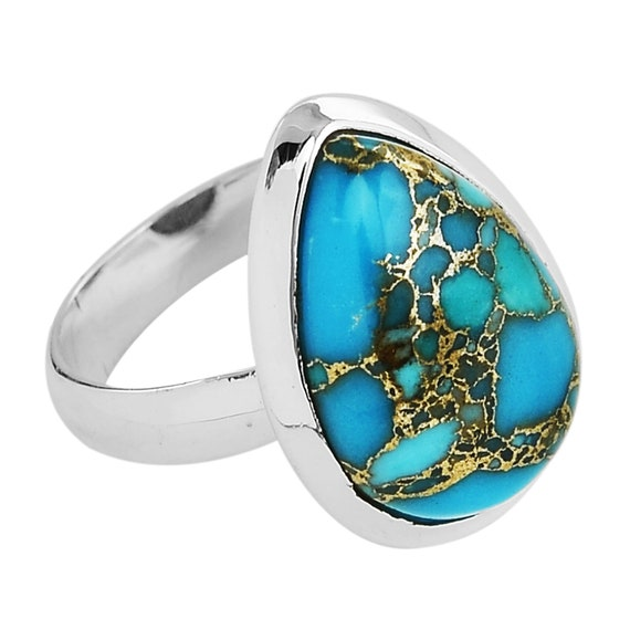 Natural Blue Copper Turquoise Gemstone Handmade Ring Oval Cabochon Stone Boho Ring 925-Antique Silver Ring Ring Finger Ring Etsy Cyber-2019