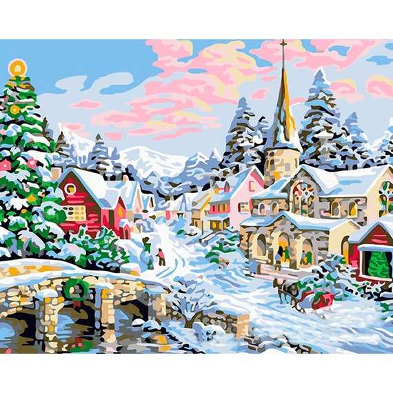 Christmas Day Diy Paint By Number Kit Adults Kids Winter Etsy