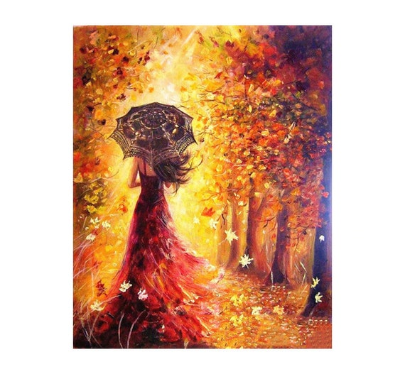 Women in Red Painting Numbers Kits DIY Number Canvas Hand Paint Painted Oil
