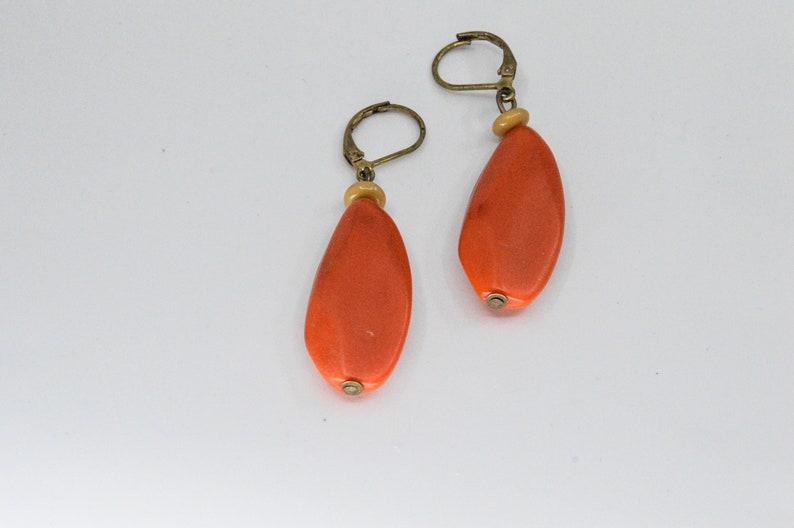 Red tone womens vintage earrings
