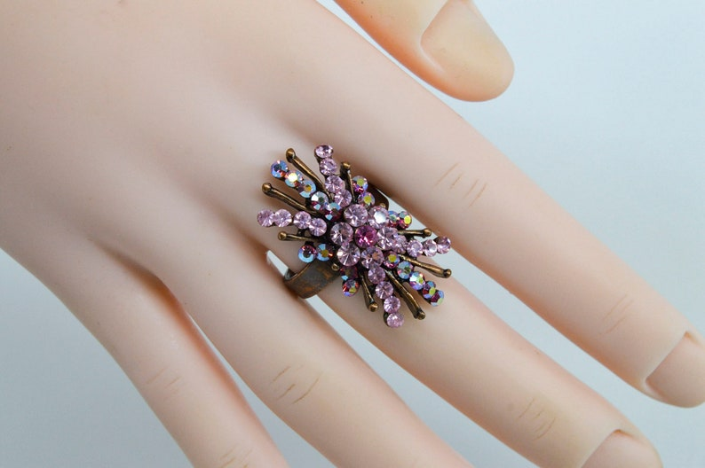 Size 7 12 Copper tone with pink crystals womens ring