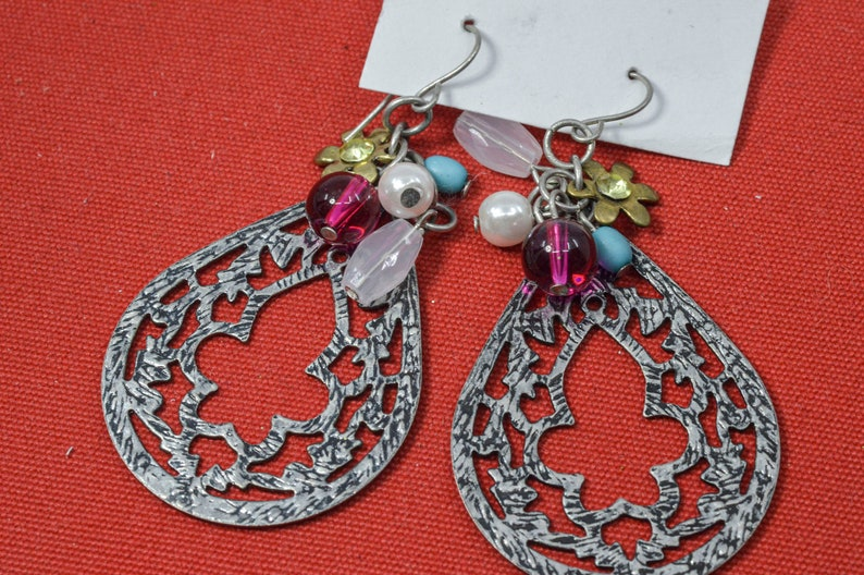 Silver tone with multi color beads womens earrings
