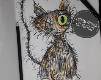 Custom cat watercolor portrait, watercolor cat drawing, grunge cartoon cat art, hand drawn cat art, personalized watercolor cat portrait