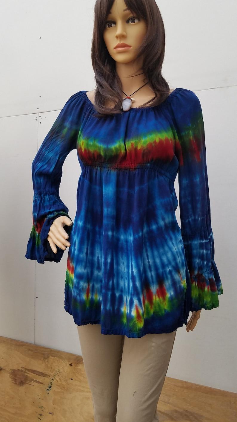 Long sleeve boho blouse hand dyed Shibori shirts  Tie Dye image 0