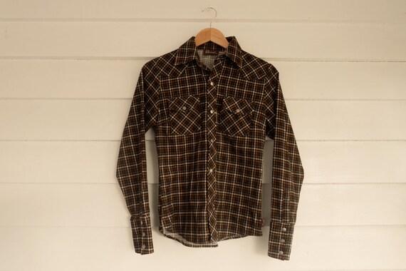 Women's Western Style Checked Corduroy Shirt - Pea