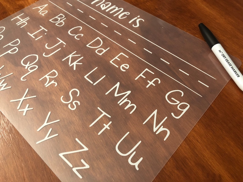 Educational alphabet tracing dry erase mat for young students Homeschool or distance learning writing tool for name and alphabet.
