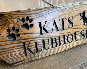 Cat House Sign, Outdoor Pet House Sign, Paw Wooden Sign, Cat Paw Print Sign, Dog House Wood Sign, Pet House Custom Sign, Wood Personalized
