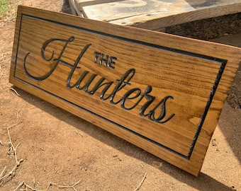First and Last Name Wood Sign, Couples Wood Sign, Personalized Wood Sign, Carved Wood Sign, Housewarming Gifts, Barn Decor, Rustic Signs