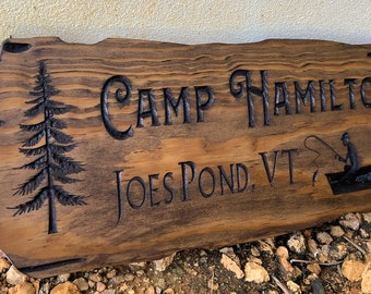 Outdoor Wood Signs, Wooden Carved Cabin Sign, Pine Trees, Custom Wood Sign, Custom Camp Sign, Mountain Home, Personalized Rustic Home Sign