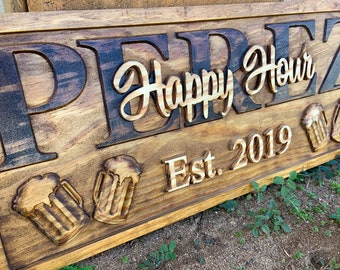 Personalized Bar Wood Sign Last Name Signs with Beer Pub Happy Hour sign Custom Sign Wood Name Sign Groomsmen Boyfriend Gift for Him