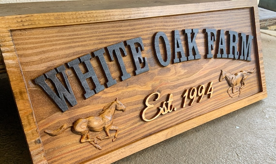 Family Horse Ranch Sign with Name Signs Custom Farm Ranch Signs Carved Wood Horseshoe Mr and Mrs Gift Last Name Barn sign Established Sign