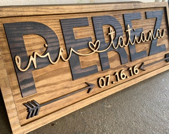 Personalized Wedding Gift Last Name Established Sign Family Name 3D Wooden Sign Custom Wood Sign Anniversary Couple Gift Personalized Sign