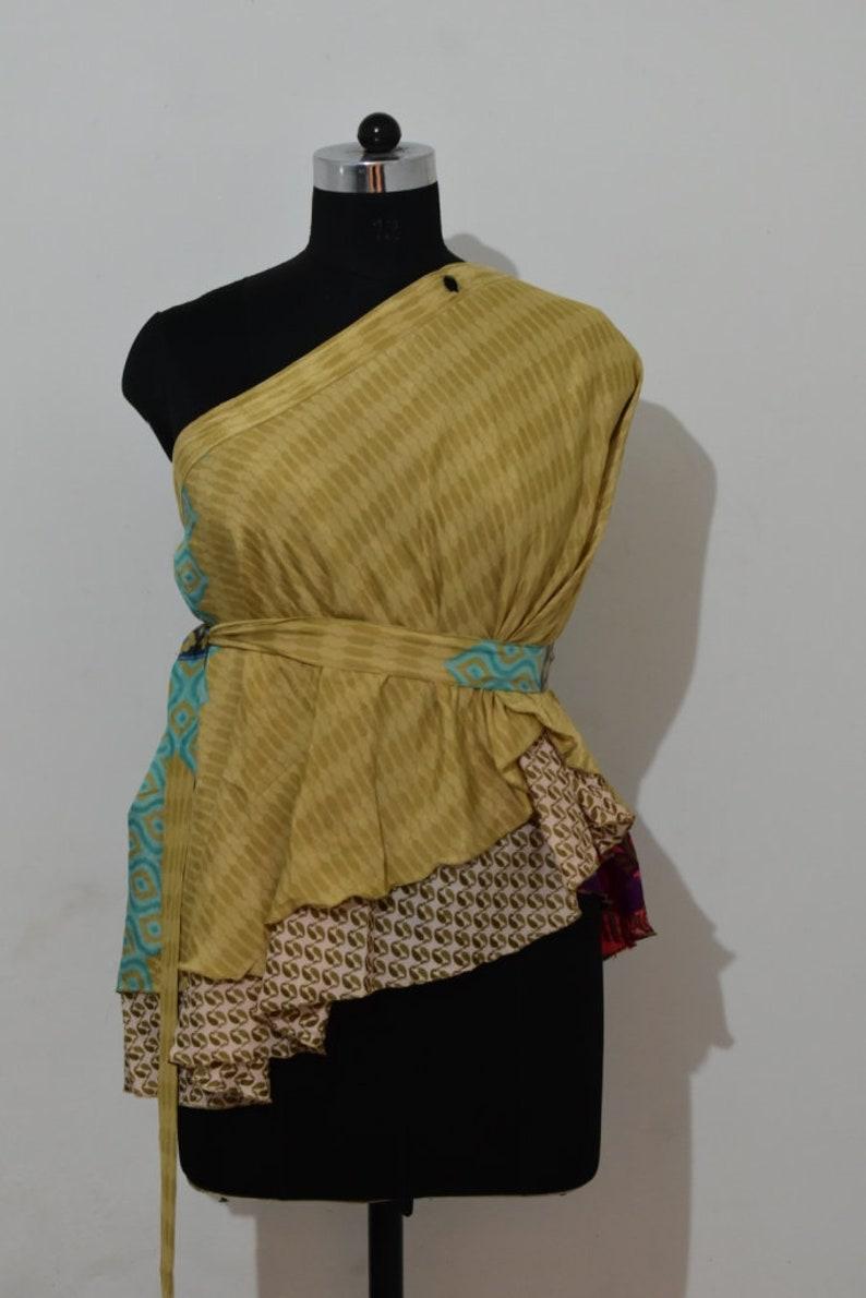 Silk sari Wrap Skirt Women Silk Sari Dress 28 Inch Knee Length Wrap Skirts 205