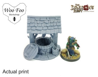 Water well 3d printed 28mm for wargaming, scatter terrain, fantasy, d&d - Dragon's Rest