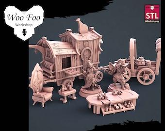 Potion Vendor Set 32mm 3D resin printed fantasy gaming terrain - STL Miniatures