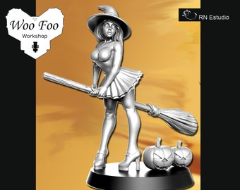 Halloween Witch with pumpkins 3D printed in Resin Fantasy - RN Estudio