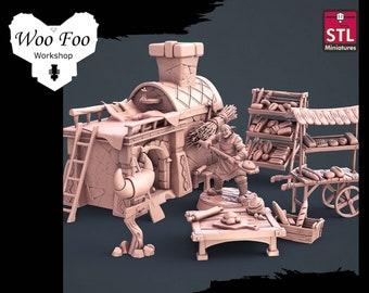 Bakery Set 32mm 3D resin printed fantasy gaming terrain - STL Miniatures