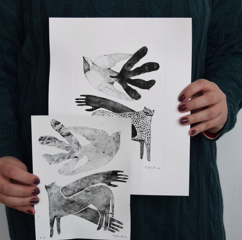 ORIGINAL work Engraved Collage on etching Engraving -wall art- Animal bird engraved in fine arts. Love and Flight