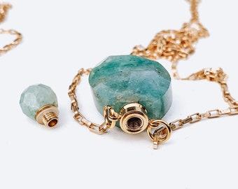 Faceted Natural Green/Turquoise Quartz Openable Perfume Bottle Pendants Necklace