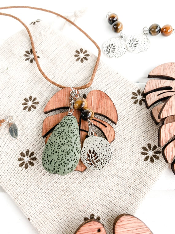 Jewelry gift Diffuser necklace Lava necklace Lava jewelry Olive Green and Beige Lava Stone Necklace