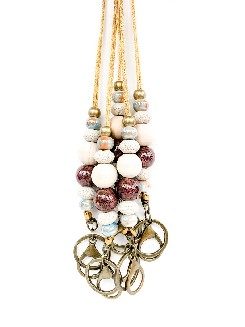 Beaded Lava Stone Diffuser Lanyard with marble /& brown ceramic beads