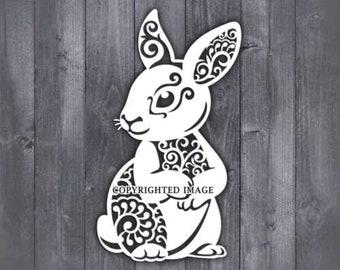 Rabbit svg Cricut Laser Rabbit Zentangle SVG CNC plasma Vector Rabbit mandala Svg Paper cut template Mandala svg Silhouette