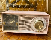 1950s Pink Motorola Clock Radio With Beautiful Gold Accents - Model C23P