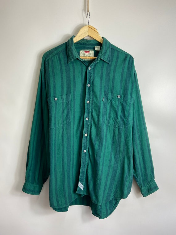 Vintage 80s Levis Green Striped Button Down Shirt