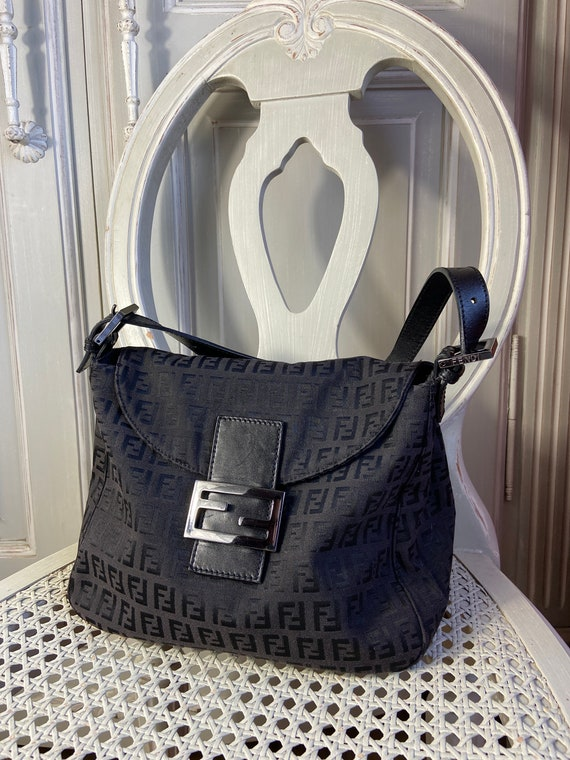 Vintage Fendi Black Monogram Tote Bag with FF logo