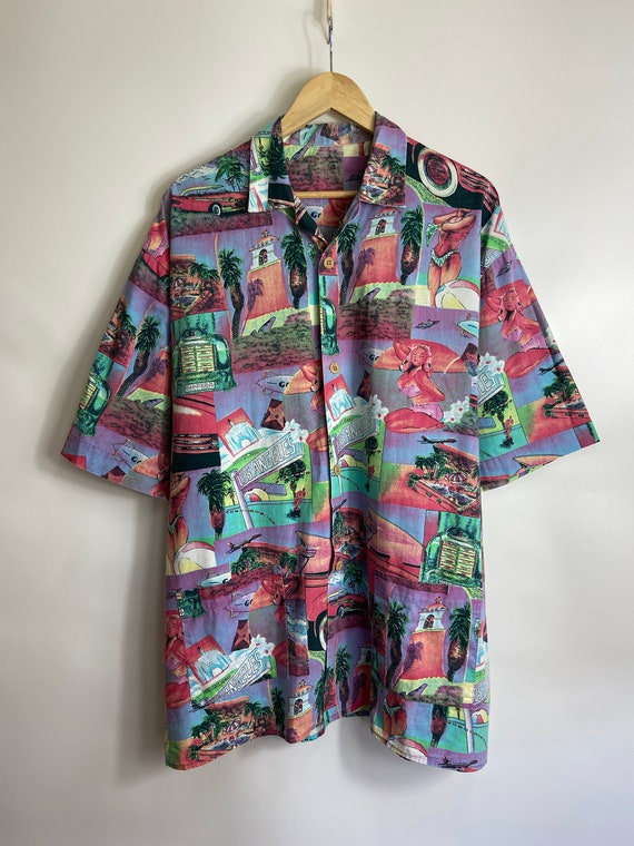 Vintage 80s All over print hawaii style button dow