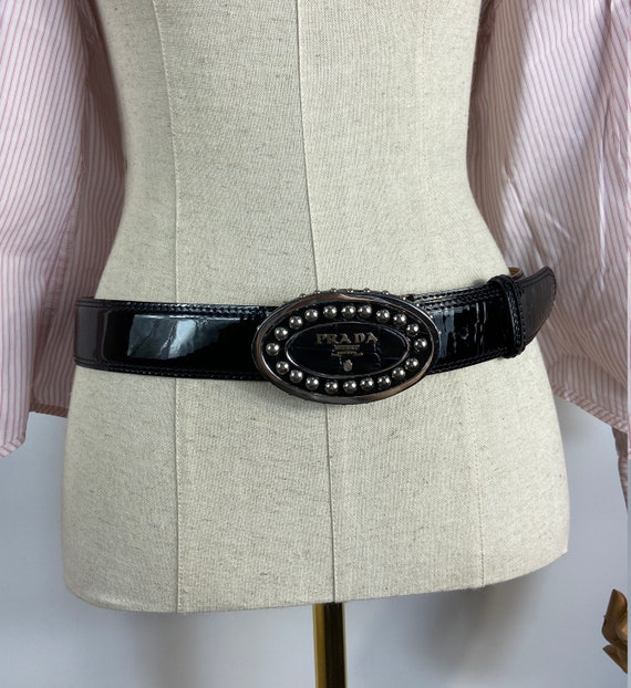 Prada black patent leather belt with logo buckle