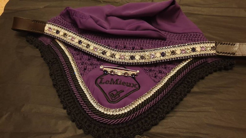 Preciosa Crystal Ear Bonnet SET Blackcurrant purples