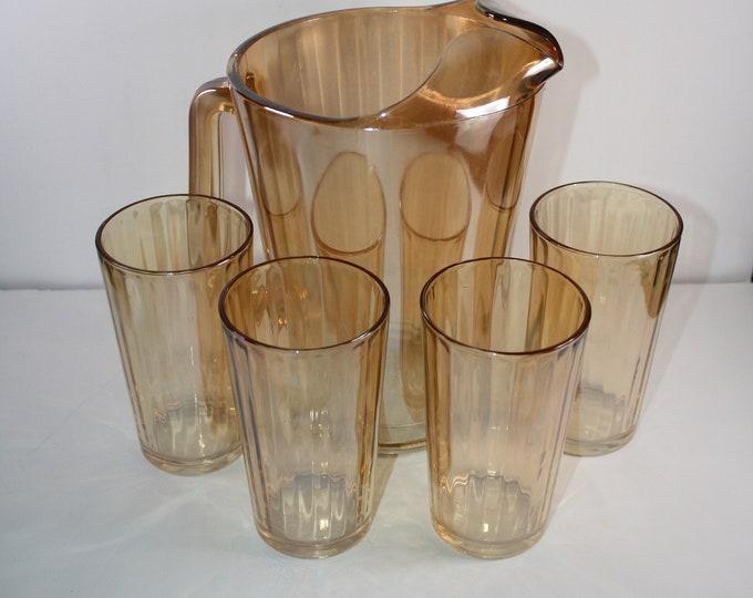 Vintage Jeanette Marigold Iridescent Glass Tumblers and Pitcher Set  Paneled Optic Rib Pattern