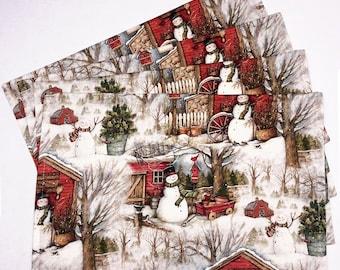 Winter Barn Snowman Christmas Placemats