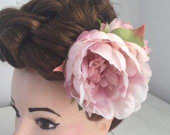 Large & Small Blush Pink Peonies Hair Flower Clip
