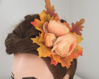 Hair Clip Peach Peonies and Autumn Leaves