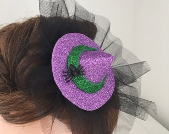 Hair Clip Halloween Purple and Green Witches Hat