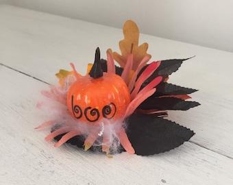 Hair Clip Halloween Boo Pumpkin