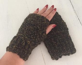 Black and Gold Fingerless gloves