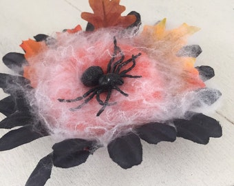 Hair Clip Halloween Cobweb and Spider